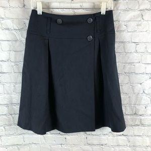 CLUB MONACO Wool Blend Button Wrap Button Skirt